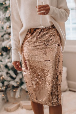 Gold Stretch Sequin Slit Sequin Skirt