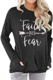 Dark Grey Faith Over Fear Printed Round Neck Long Sleeve T-shirt
