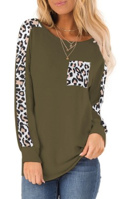 Army Green Long-sleeved Leopard Stitched Pullover Top