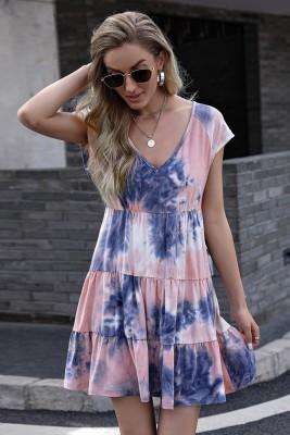 Pink Tie-dye Print Gradient Short Sleeve Dress