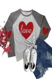 Valentine's Day Heart Printed Letter LOVE Long Sleeve T-Shirt