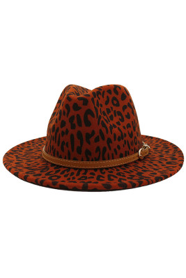 Wine Red Leopard Jazz Hat