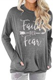 Light Grey Faith Over Fear Printed Round Neck Long Sleeve T-shirt