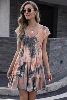 Orange Tie-dye Print Gradient Short Sleeve Dress