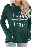 Dark Green Faith Over Fear Printed Round Neck Long Sleeve T-shirt