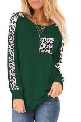 Green Long-sleeved Leopard Stitched Pullover Top