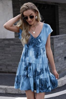 Blue Tie-dye Print Gradient Short Sleeve Dress