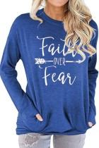 Blue Faith Over Fear Printed Round Neck Long Sleeve T-shirt