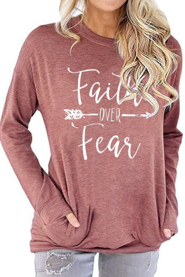 Pink Faith Over Fear Printed Round Neck Long Sleeve T-shirt