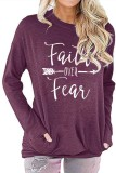 Purple Faith Over Fear Printed Round Neck Long Sleeve T-shirt