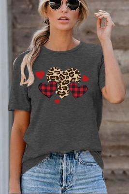 Checkered Leopard Printed Crew Neck Valentine's Day Short Sleeve T-shirt