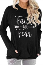 Black Faith Over Fear Printed Round Neck Long Sleeve T-shirt