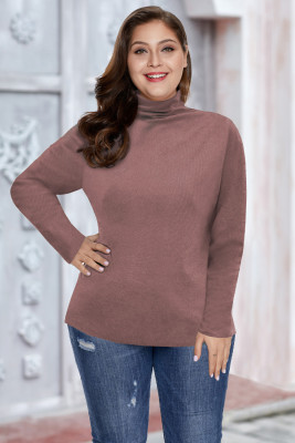 Plain Turtleneck Ribbed Plus Size Top
