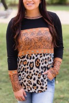Contrasting Retro Leopard Print Long Sleeve Tops
