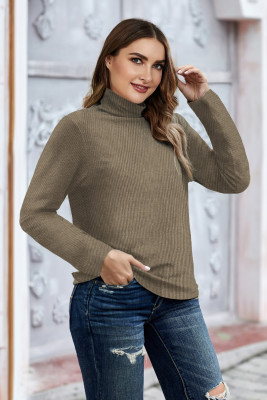 Khaki Plain Turtleneck Ribbed Plus Size Top