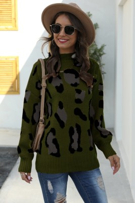 Green Leopard Print Pullover Knit Sweater