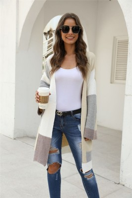 Grey ColorBlock Cardigan Sweater