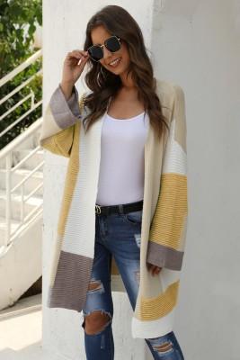 Khaki ColorBlock Cardigan Sweater