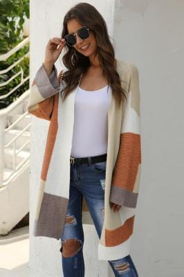 Camel ColorBlock Cardigan Sweater