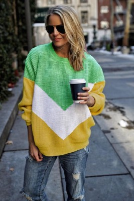 Yellow Round Neck Stitching Pullover Knitted Sweater