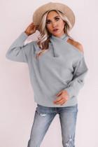 Gray Off Shoulder Cross Sweaters