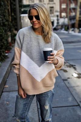Beige Round Neck Stitching Pullover Knitted Sweater