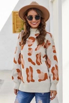 Beige Leopard Print Pullover Knit Sweater