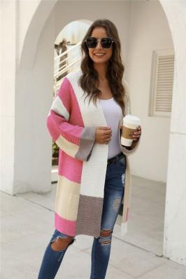 Pink ColorBlock Cardigan Sweater
