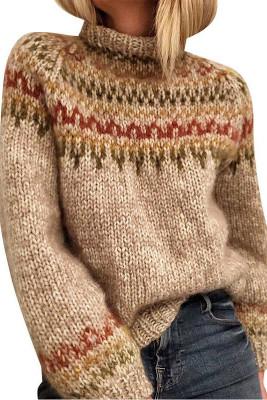 Khaki Printed High Neck Knit Sweater