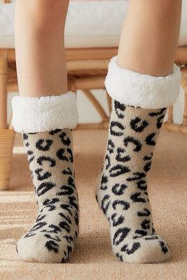 Leopard Printed Warm Sleep Sock