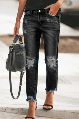 Black Ripped Slim Fit Washed Jeans