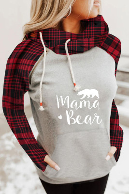 Red Plaid Cowl Neck Long Sleeve Diagonal Zipper Gray Letter Print Sweatshirt