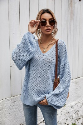 Blue Stitched pullover striped knitted sweater