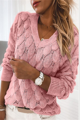 Pink Feather Hollowed-out V-neck Long Sleeve Knitted Sweater