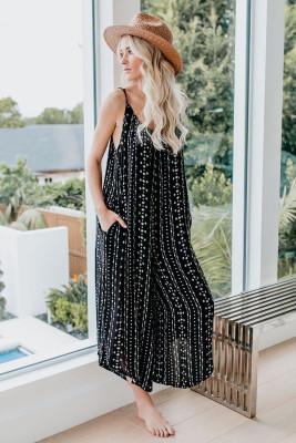 Black Printed Adjustable Wide-leg Jumpsuit