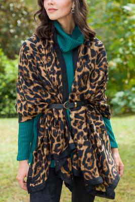 Brown Leopard Cotton Scarf