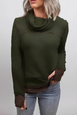Army Green High Collar Patchwork Sweatshirt