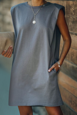 Gray Padded Shoulder Sleeveless Cotton Pocketed Mini Dress