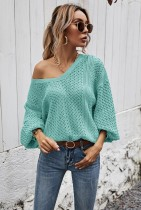 Green Stitched pullover striped knitted sweater