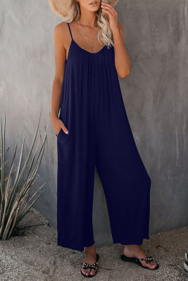 Dark Blue Spaghetti Straps Wide Leg Pocketed Jumpsuits