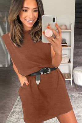 Brown Padded Shoulder Sleeveless Cotton Pocketed Mini Dress