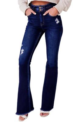 Dark Blue High Rise Flare Jeans