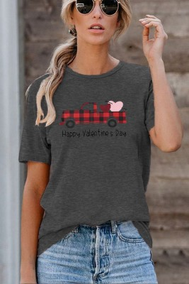 Happy Valentine's Day Grey Printed Crew Neck Short Sleeve T-shirt