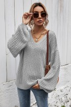 Grey Stitched pullover striped knitted sweater