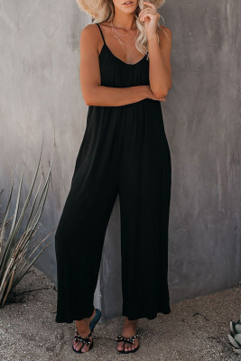 Black Spaghetti Straps Wide Leg Pocketed Jumpsuits