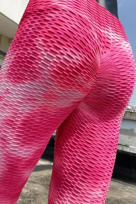 Red Pink Tie Dye Yoga Pants Leggings