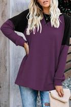 Dark Purple Patchwork Loose Tops