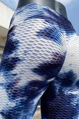Blue White Tie Dye Yoga Pants Leggings
