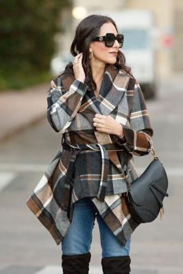 Khaki Plaid Irregular Coats