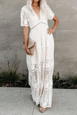 White Lace Patchwork Hollow Out Dresses